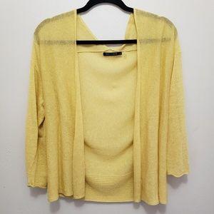 Nic+zoe yellow cardigan linen sweater medium